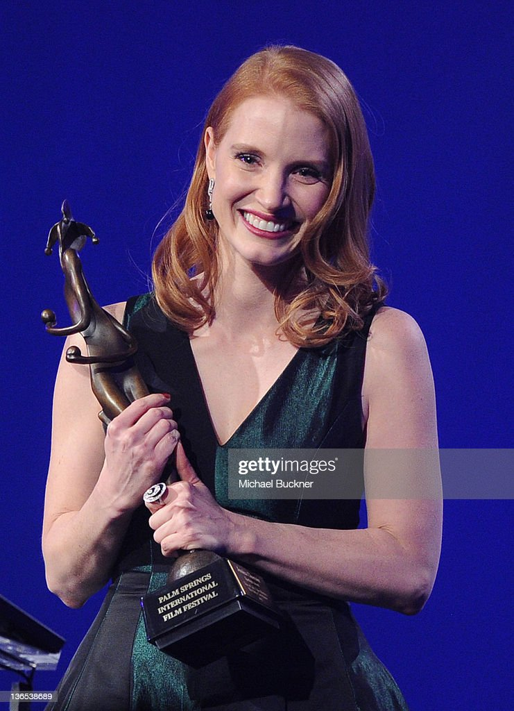 Actress Jessica Chastain accepts the Spotlight Award onstage during The 23rd Annual Palm Springs International Film Festival Awards Gala at the Palm Springs Convention Center on January 7, 2012 in Palm Springs, California.