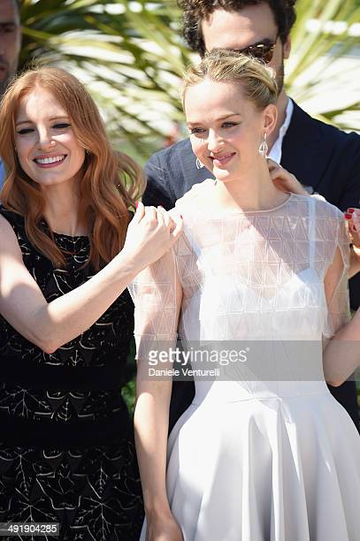 Actress Jessica Chastain actress Jess Weixler and Gian Luca Passi De Preposulo attend The Disappearance Of Eleanor Rigby photocall at the 67th Annual...