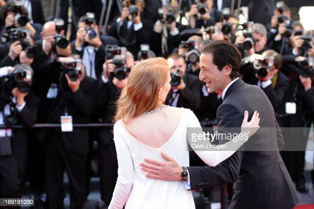 Actress Jessica Chastain and actor Adrien Brody attend the 'Cleopatra' premiere during The 66th Annual Cannes Film Festival at The 60th Anniversary...