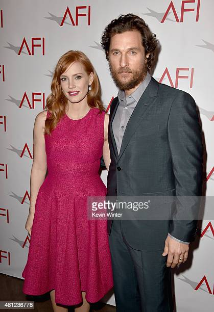 Actress Jessica Chastain and actor Matthew McConaughey attend the 15th Annual AFI Awards at Four Seasons Hotel Los Angeles at Beverly Hills on...
