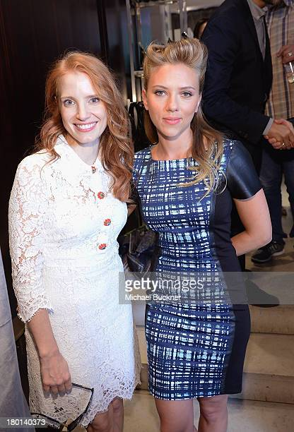 Actress Jessica Chastain and actress Scarlett Johansson attend the Variety Studio at Holt Renfrew during the 2103 Toronto International Film Festival...