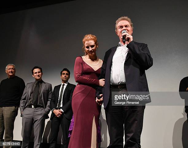 Actress Jessica Chastain and director John Madden attend Miss Sloane Toronto Premiere held at Isabel Bader Theatre on December 5 2016 in Toronto...