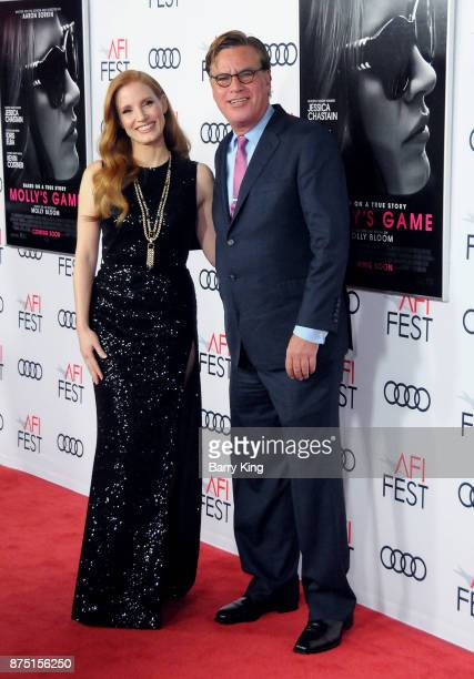 Actress Jessica Chastain and director/screenwriter Aaron Sorkin attend AFI FEST 2017 Presented By Audi Closing Night Gala Screening Of 'Molly's Game'...
