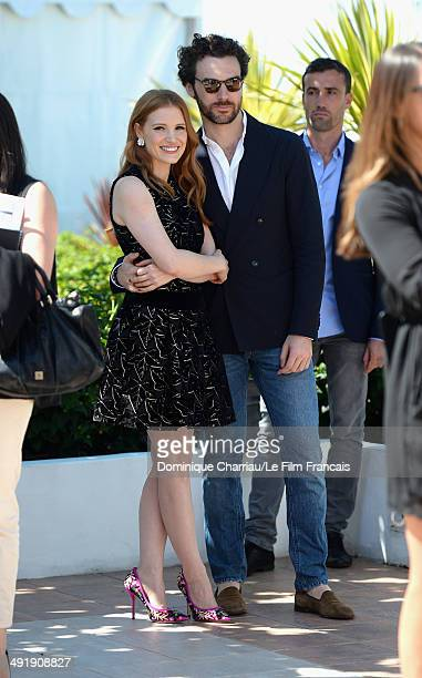 Actress Jessica Chastain and Gian Luca Passi De Preposulo attend The Disappearance Of Eleanor Rigby photocall at the 67th Annual Cannes Film Festival...
