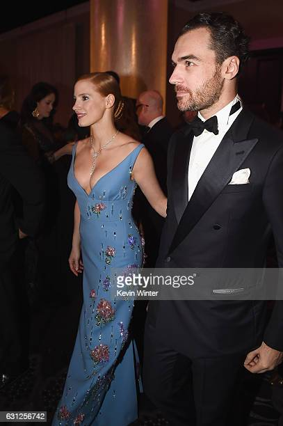 Actress Jessica Chastain and Gian Luca Passi de Preposulo attend the 74th Annual Golden Globe Awards at The Beverly Hilton Hotel on January 8 2017 in...