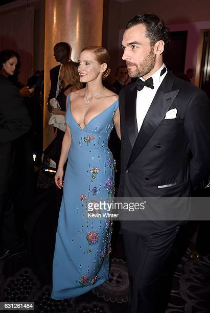 Actress Jessica Chastain and Gian Luca Passi de Preposulo attends the 74th Annual Golden Globe Awards at The Beverly Hilton Hotel on January 8 2017...