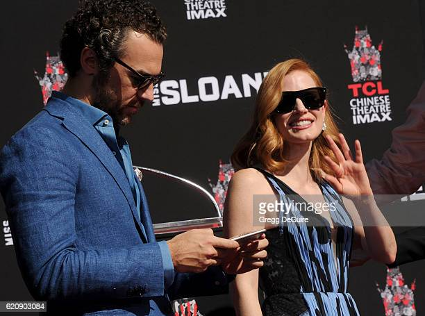 Actress Jessica Chastain and Gian Luca Passi de Preposulo pose at her Hand And Footprint Ceremony at TCL Chinese Theatre on November 3 2016 in...