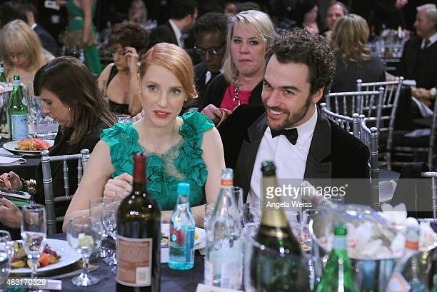 Actress Jessica Chastain and Gian Luca Passi De Preposulo with Napa Valley Vintners And Sapporo attend the 19th Annual Critics' Choice Movie Awards...