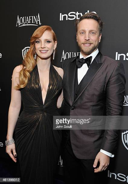 Actress Jessica Chastain and InStyle Editor in Chief Ariel Foxman attend the 2015 InStyle And Warner Bros 72nd Annual Golden Globe Awards PostParty...