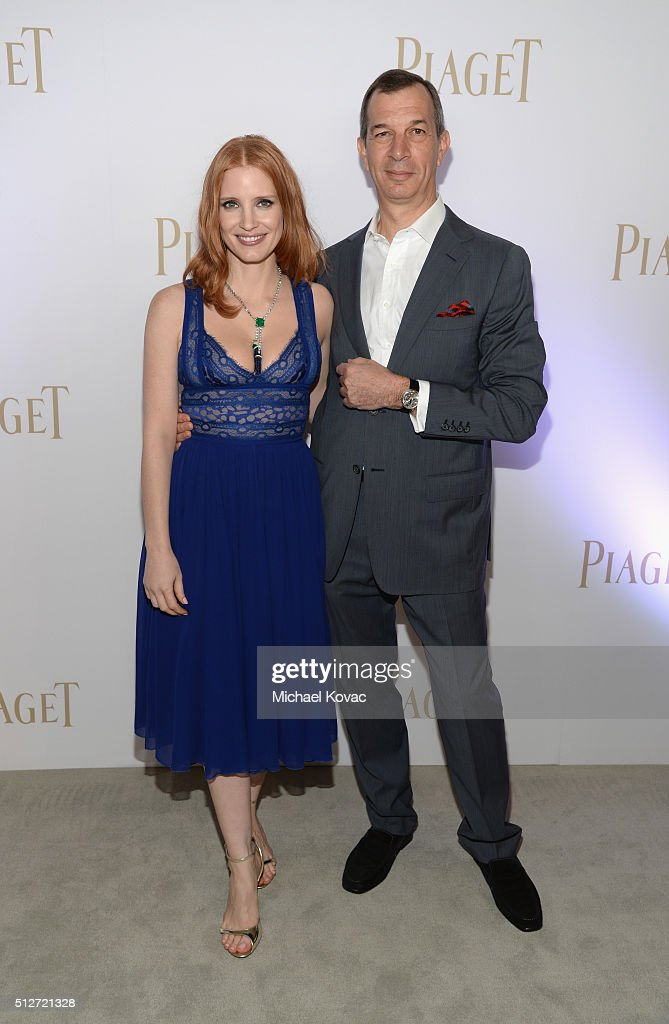 Actress Jessica Chastain (L) and Piaget CEO Philippe Leopold-Metzger attend the 2016 Film Independent Spirit Awards sponsored by Piaget on February 27, 2016 in Santa Monica, California.