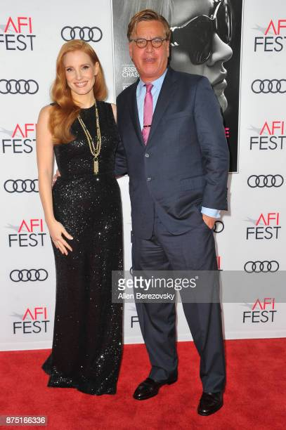 Actress Jessica Chastain and screenwriter Aaron Sorkin attend AFI FEST 2017 Closing Night Gala Screening of 'Molly's Game' at TCL Chinese Theatre on...
