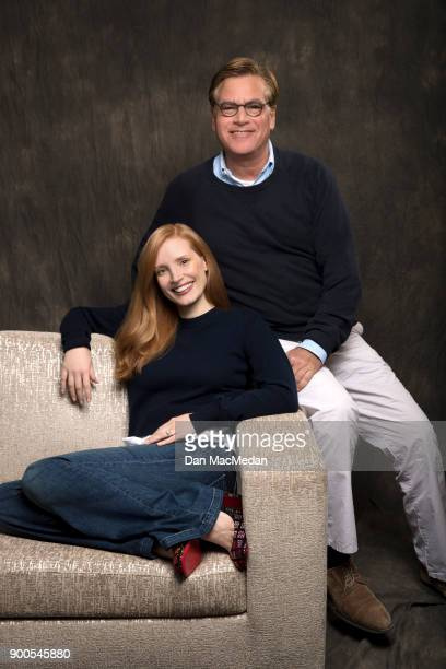 Actress Jessica Chastain and writer/director Aaron Sorkin are photographed for USA Today on November 6 2017 in Beverly Hills California