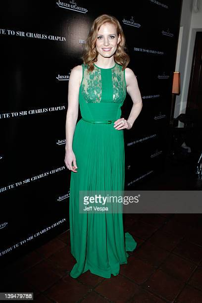 Actress Jessica Chastain arrives at a tribute to Sir Charles Chaplin by Carmen and Dolores Chaplin with the support of JaegerLeCoultre and cohosted...