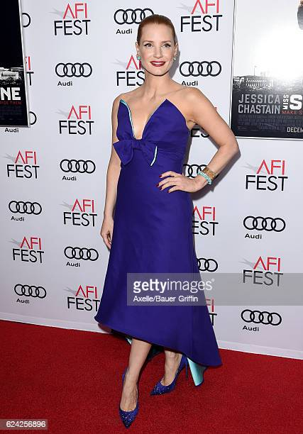 Actress Jessica Chastain arrives at AFI FEST 2016 Presented by Audi Premiere of EuraCorp USA's 'Miss Sloane' at TCL Chinese 6 Theatres on November 11...