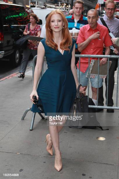 Actress Jessica Chastain arrives at 'Good Morning America' for an interview at GMA Studios in Times Square on August 21 2012 in New York City