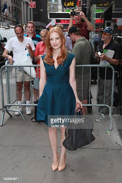 """Actress Jessica Chastain arrives at """"Good Morning America"""" for an interview at GMA Studios in Times Square on August 21, 2012 in New York City."""