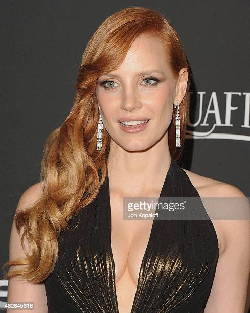 Actress Jessica Chastain arrives at the 16th Annual Warner Bros And InStyle PostGolden Globe Party at The Beverly Hilton Hotel on January 11 2015 in...
