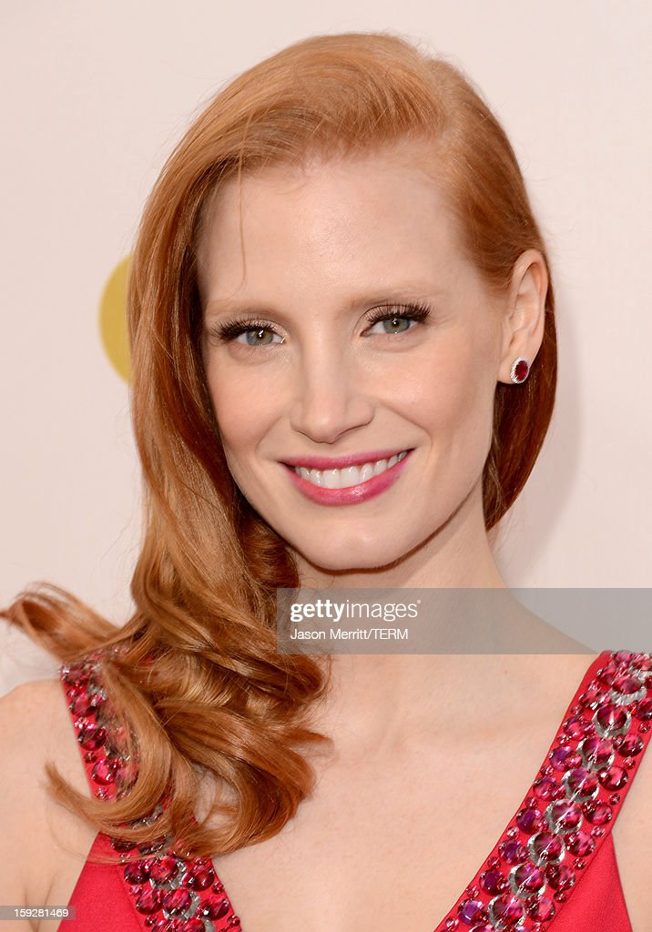 Actress Jessica Chastain arrives at the 18th Annual Critics' Choice Movie Awards held at Barker Hangar on January 10, 2013 in Santa Monica, California.