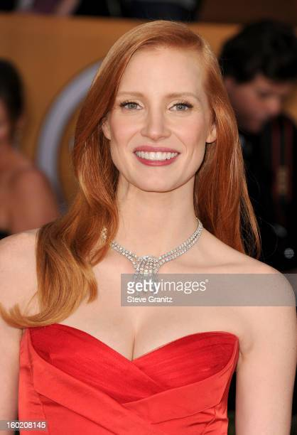 Actress Jessica Chastain arrives at the 19th Annual Screen Actors Guild Awards held at The Shrine Auditorium on January 27, 2013 in Los Angeles,...