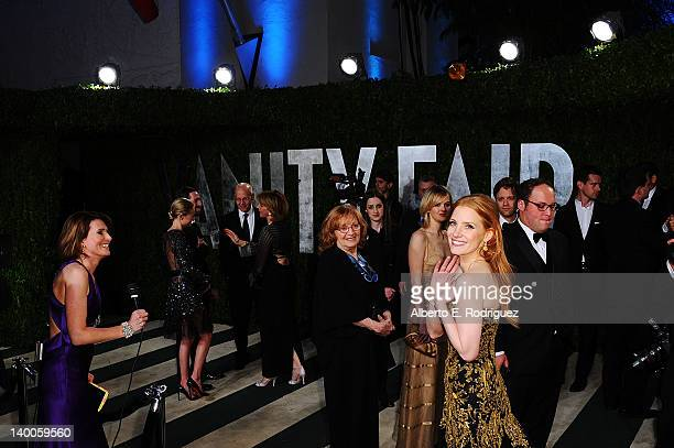 Actress Jessica Chastain arrives at the 2012 Vanity Fair Oscar Party hosted by Graydon Carter at Sunset Tower on February 26 2012 in West Hollywood...