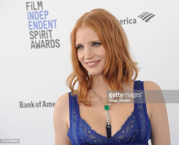 Actress Jessica Chastain arrives at the 2016 Film Independent Spirit Awards on February 27 2016 in Santa Monica California
