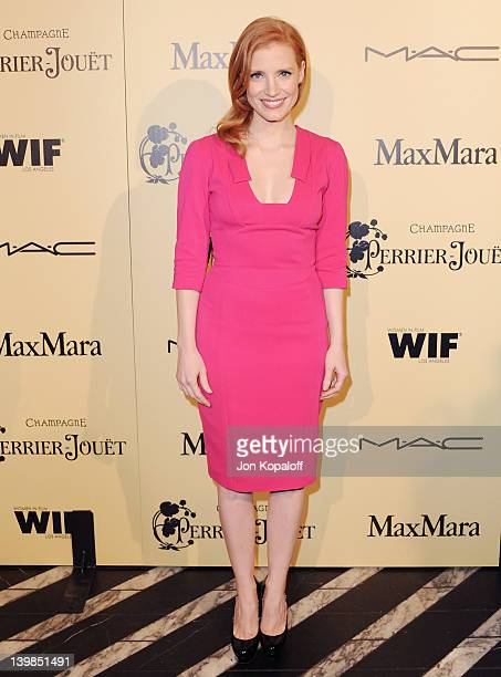 Actress Jessica Chastain arrives at the 5th Annual Women In Film Pre-Oscar Cocktail Party at Cecconi's Restaurant on February 24, 2012 in Los...