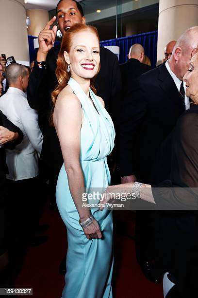 Actress Jessica Chastain arrives at the 70th Annual Golden Globe Awards held at The Beverly Hilton Hotel on January 13 2013 in Beverly Hills...