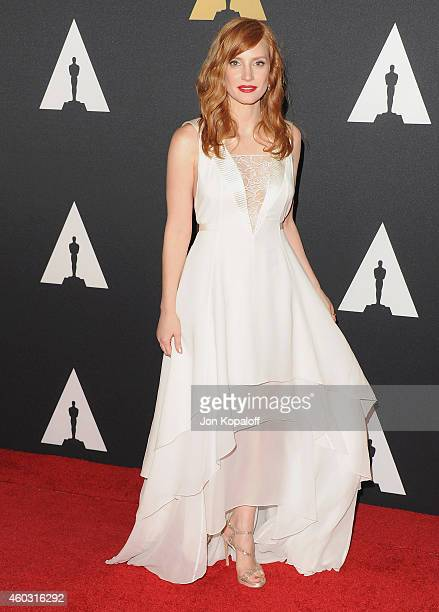 Actress Jessica Chastain arrives at the Academy Of Motion Picture Arts And Sciences' Governors Awards at The Ray Dolby Ballroom at Hollywood &...