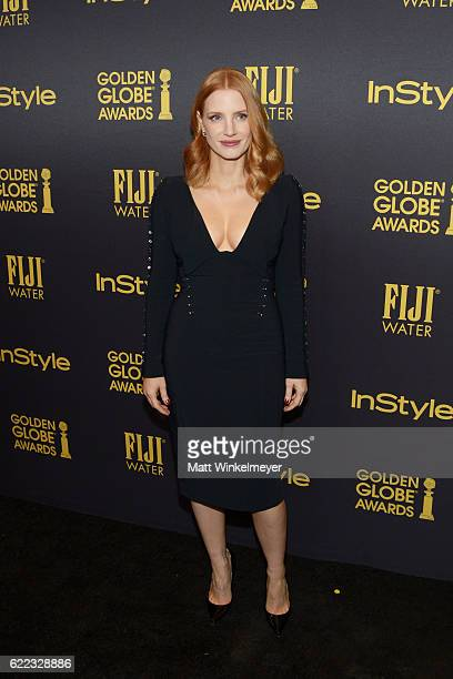 Actress Jessica Chastain arrives at the Hollywood Foreign Press Association and InStyle celebrate the 2017 Golden Globe Award Season at Catch LA on...