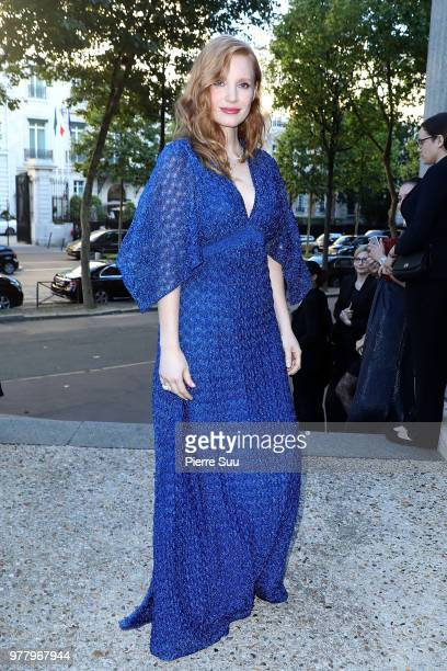Actress Jessica Chastain arrives at the launch of Piaget's new sunlight escape high jewellery collection at Palais D'iena on June 18 2018 in Paris...