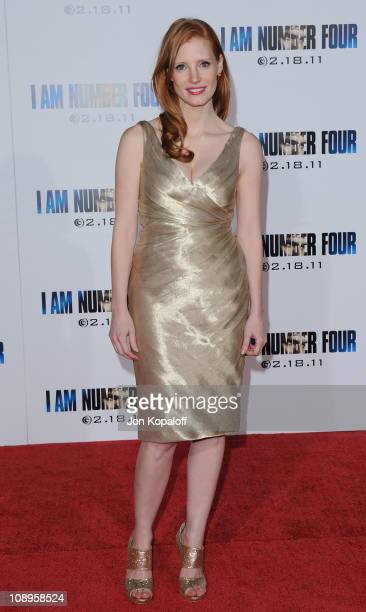 Actress Jessica Chastain arrives at the Los Angeles Premiere I Am Number Four at Mann's Village Theatre on February 9 2011 in Westwood California