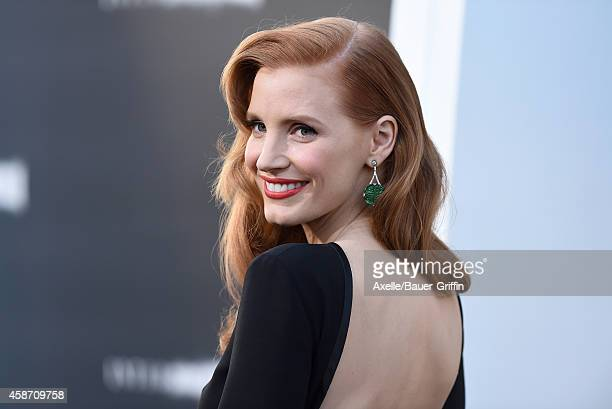 Actress Jessica Chastain arrives at the Los Angeles Premiere of 'Interstellar' at TCL Chinese Theatre IMAX on October 26, 2014 in Hollywood,...