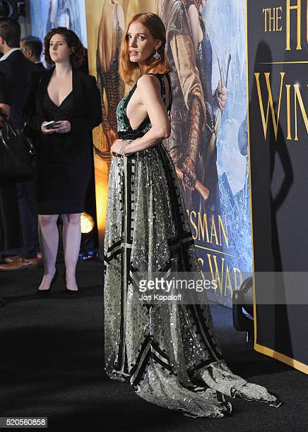 Actress Jessica Chastain arrives at the Los Angeles Premiere Of Universal Pictures' The Huntsman Winter's War on April 11 2016 in Westwood California