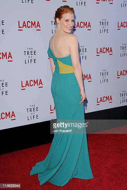 Actress Jessica Chastain arrives at the Los Angeles Premiere The Tree Of Life at the Bing Theatre at LACMA on May 24 2011 in Los Angeles California