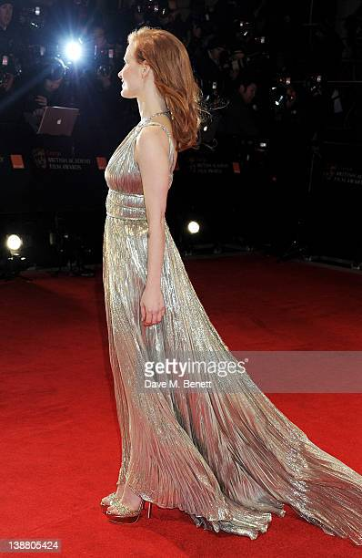 Actress Jessica Chastain arrives at the Orange British Academy Film Awards 2012 at The Royal Opera House on February 12 2012 in London England