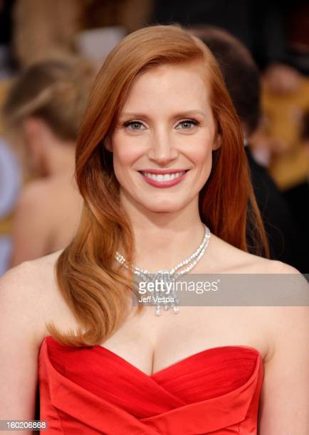 Actress Jessica Chastain arrives at the19th Annual Screen Actors Guild Awards held at The Shrine Auditorium on January 27, 2013 in Los Angeles,...