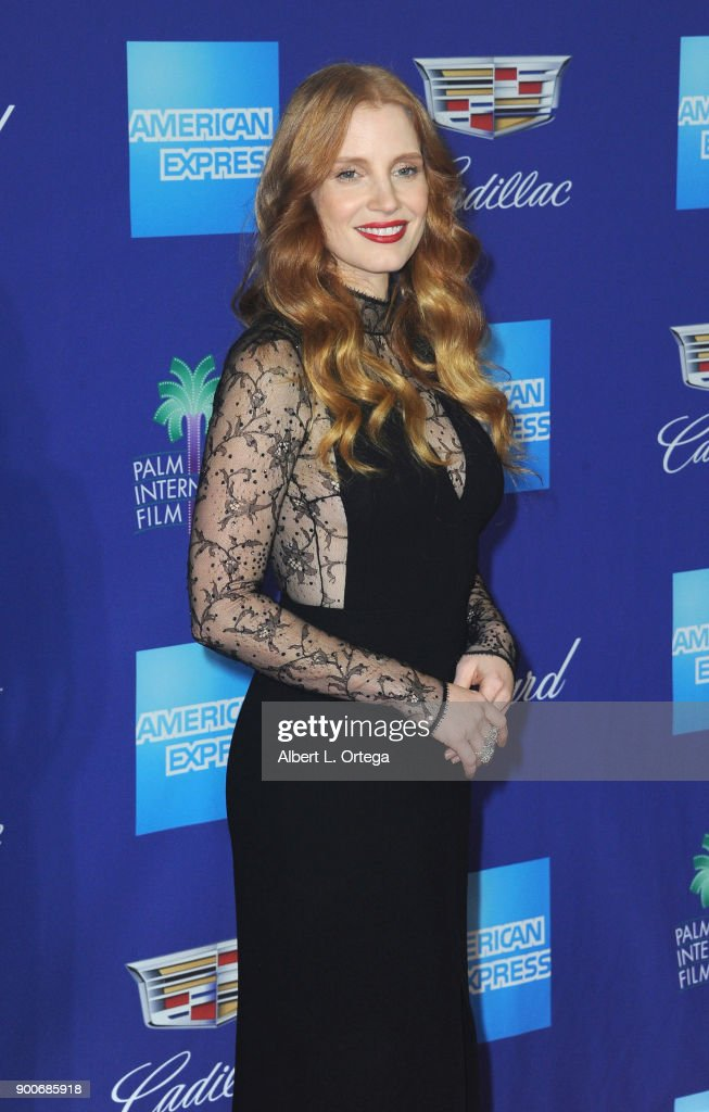 Actress Jessica Chastain arrives for the 29th Annual Palm Springs International Film Festival Film Awards Gala held at Palm Springs Convention Center on January 2, 2018 in Palm Springs, California.