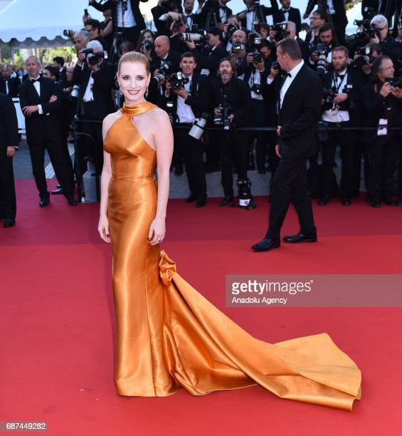 US actress Jessica Chastain arrives for the 70th Anniversary Ceremony of Cannes Film Festival in Cannes France on May 23 2017