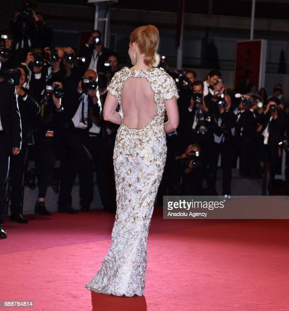 US actress Jessica Chastain arrives for the premiere of the film Aus dem Nichts in competition at the 70th annual Cannes Film Festival in Cannes...