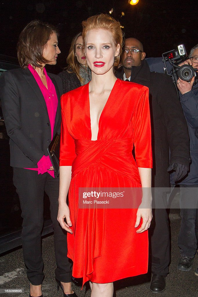 Actress Jessica Chastain arrives to attend the 'Saint Laurent' Fall/Winter 2013 Ready-to-Wear show as part of Paris Fashion Week on March 4, 2013 in Paris, France.