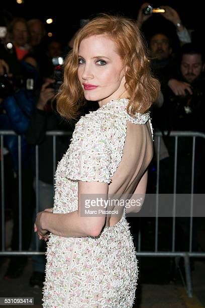 Actress Jessica Chastain arrives to attend the 'Vanity Fair and Chanel' party during the annual 69th Cannes Film Festival at Tetou restaurant on May...