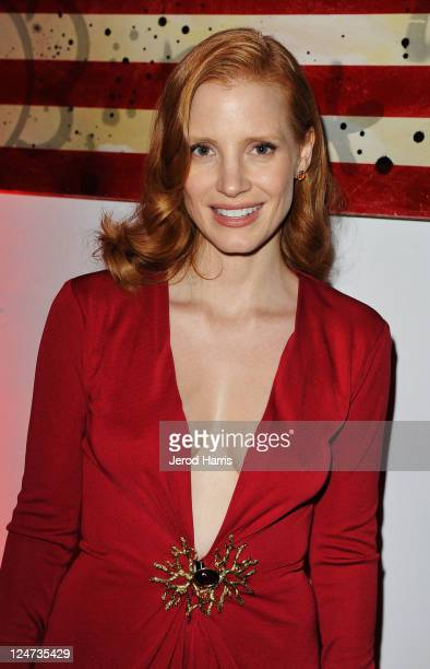 Actress Jessica Chastain at the smartwater CAA party on the vitaminwater Rooftop on September 11 2011 in Toronto Canada