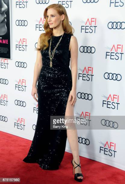 Actress Jessica Chastain attends AFI FEST 2017 Presented By Audi Closing Night Gala Screening Of 'Molly's Game' at TCL Chinese Theatre on November 16...