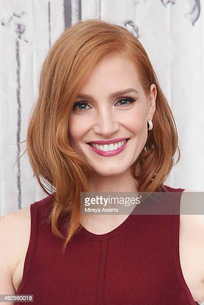 """Actress Jessica Chastain attends AOL BUILD Presents """"Crimson Peak"""" at AOL Studios on October 16, 2015 in New York City."""