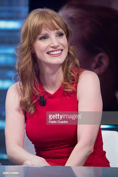 Actress Jessica Chastain attends 'El Hormiguero' tv show at Vertice Studio on September 24, 2014 in Madrid, Spain.