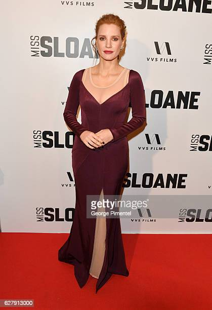 Actress Jessica Chastain attends Miss Sloane Toronto Premiere held at Isabel Bader Theatre on December 5 2016 in Toronto Canada