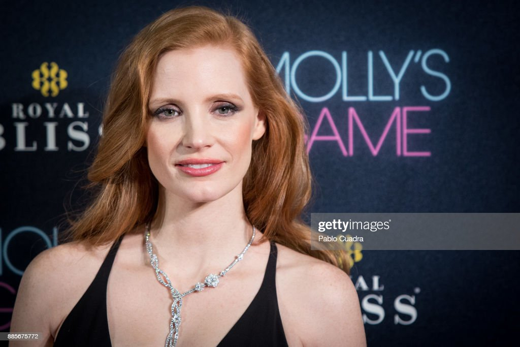 Actress Jessica Chastain attends 'Molly's Game' Madrid premiere at Callao Cinema on December 4, 2017 in Madrid, Spain.