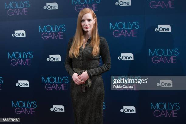 Actress Jessica Chastain attends 'Molly's Game' photocall at the Ritz Hotel in Madrid on December 4 2017 in Madrid Spain