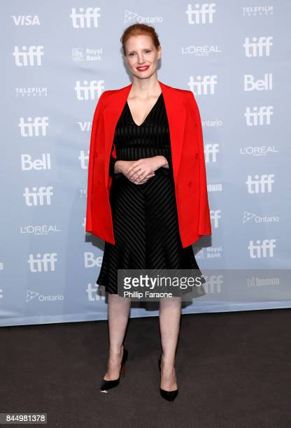 Actress Jessica Chastain attends 'Molly's Game' press conference during 2017 Toronto International Film Festival at TIFF Bell Lightbox on September 9...