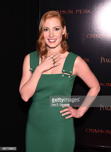 Actress Jessica Chastain attends Piaget CoHosts The Crimson Peak Premiere on October 14 2015 in New York City